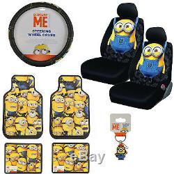 Despicable Me Minions Car Front Rear Floor Mats Seat Covers Steering Wheel Cover
