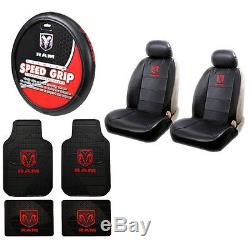 Dodge Ram Premium Sideless Front Seat Covers Steering Wheel Cover Floor Mats Set