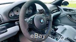 E46 BMW M3 Black Alcantara Suede Steering Wheel Cover ///M Tri Color Stitching