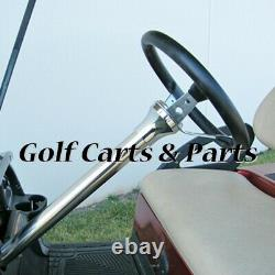 EZGO TXT Golf Cart Steering Wheel Blue/Blk With Chrome Column Cover and Adapter