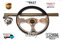 EZ-GO RXV/TXT Chrome/Black Steering Wheel/Hub Adapter/Chrome Cover Kit