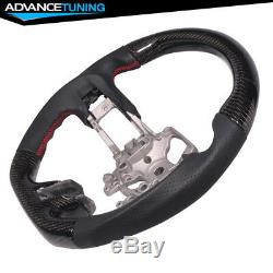 Fits 15-17 Ford Mustang CF Caron Fiber with Real Leather Steering Wheel Black
