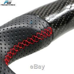 Fits 15-19 Subaru WRX Steering Wheel CF & Perforated Leather & Red Thread