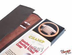 Fits 2009-2012 Dodge Ram 1500 2500 3500-Leather Steering Wheel Cover, Dark Brown