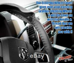 Fits 2009-2012 Dodge Ram 1500 2500 3500-Leather Wrap Steering Wheel Cover, Black