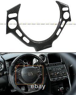 For 09-16 Nissan Gtr Gt-r R35 Real Carbon Fiber Steering Wheel Center Trim Cover