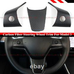 For 17-2021 Tesla Model 3 & Model Y Matt Carbon Fiber Steering Wheel Trim Covers