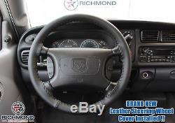 For 1998-2002 Dodge Ram 2500 -Black Leather Steering Wheel Cover withNeedle & Cord