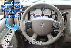 For 2006 2007 2008 Dodge Ram SLT Laramie -Leather Steering Wheel Cover, Dark Tan