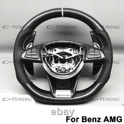 For Benz Amg A45 C63 E63 Cla45 Cls63 Real Carbon Fiber Steering Wheel Trim Cover
