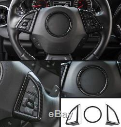 For Chevrolet Camaro 2017 2018Carbon fiber style Steering wheel cover trim 3PCS