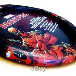 For Honda New Deadpool Car Seat Covers Floor Mat Steering Wheel Cover Set