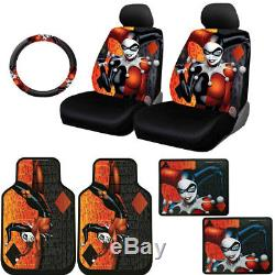 For Jeep New Harley Quinn Car Seat Covers Floor Mats Steering Wheel Cover Set