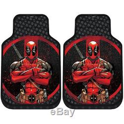 For Kia New Deadpool Car Seat Covers Floor Mat Steering Wheel Cover Set