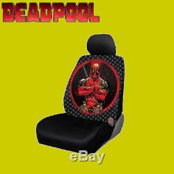 For Nissan New Deadpool Car Seat Covers Floor Mat Steering Wheel Cover Set