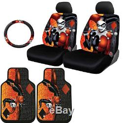 For Nissan New Harley Quinn Car Seat Covers Floor Mat Steering Wheel Cover Set