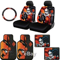 For Nissan New Harley Quinn Car Seat Covers Floor Mats Steering Wheel Cover Set