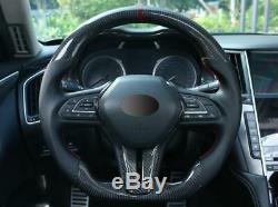 For infiniti Q50 2018-20 Q60 2017-20 carbon fiber Steering wheel cover trim 2pcs