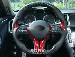 For infiniti Q50 2018-20 Q60 2017-20 red carbon fiber Steering wheel cover trim