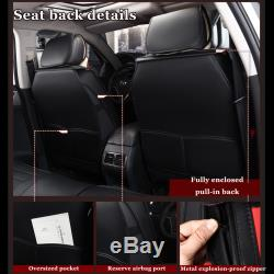 Full Set Car 5 Seat Leather Cushion Front Rear + Steering Wheel Cover + Pillow
