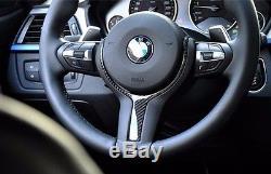 Genuine BMW M Sport M Performance Carbon Fiber Steering Wheel Cover Trim Inserts