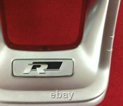 Genuine OEM VW Golf MK7 R line flat bottom steering wheel silver trim bezel. 9C1