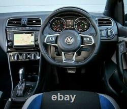 Genuine OEM VW Polo 6C GT flat bottom steering wheel chrome trim bezel. 9A