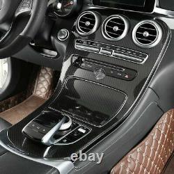 Glossy Carbon Fiber Interior Decal Trim For Mercedes-Benz C200 C300 GLC 2015-19