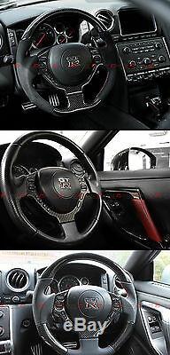 Glossy Carbon Fiber Steering Wheel Center Trim Cover For 2009-16 Nissan Gtr R35