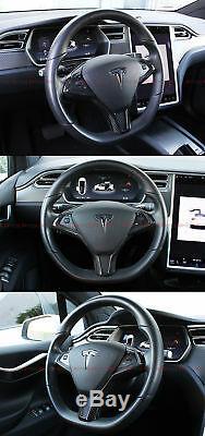 Glossy Carbon Fiber Steering Wheel Center Trim Cover For Tesla Model X & Model S