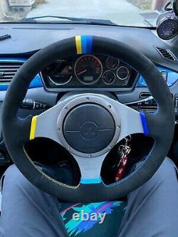 Greddy Style v2 Stitching Lancer EVO 7/8/9 VIII IX Steering Wheel Wrap Suede