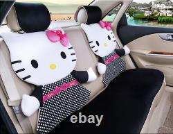 HOT New Hello Kitty Car Seat Covers Steering Wheel Cover Head restraint