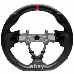 Handkraftd 12-15 Honda Civic 9th gen Dry Hydro Carbon Steering Wheel Red Stripe