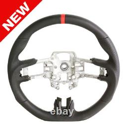 Handkraftd 2015-2017 Ford Mustang Steering Wheel Black Leather withSilver Stitch