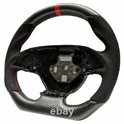 Handkraftd C7 Corvette Steering Wheel- Matte Real Carbon/Alcantara/Red Stitch