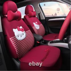 Hello Kitty five seats car seat cover steering wheel headrest fashion models