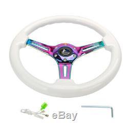 Hiwowsport 14 White Wood Steering Wheel 6 Bolts 1.75 Depth Neo Chromed Spoke