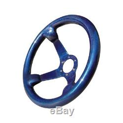 Hiwowsport Genuine Carbon Fiber Racing Steering Wheel 350mm Diameter Bolts Blue