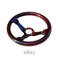 Hiwowsport Genuine Carbon Fiber Racing Steering Wheel 350mm Diameter Bolts Red