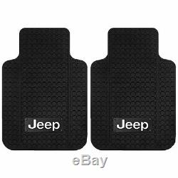 Jeep Classic Black Front Rear Rubber Mats Steering Wheel Cover Universal