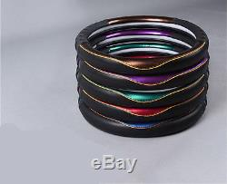Leather Car Steering Wheel Cover Glossy Purple 38cm-Red/Blue/Gold/Green Availabl