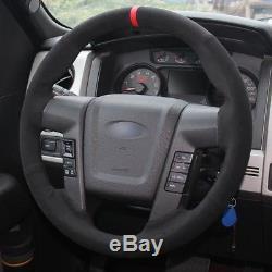 Loncky Black Suede Steering Wheel Cover for Ford F-150 F150 SVT Raptor 2010 2011