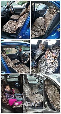 Luxury Leopard Print Car Seat Cover Universal Seat Belt Pads 38 Steering Wheel