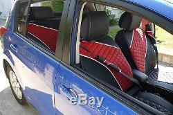 Luxury Seat Cover Shift Knob Belt Steering Wheel Black & Red PVC Leather 33021c