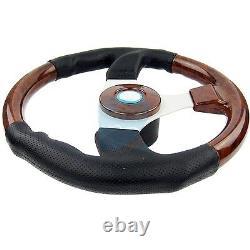 Marine Steering Wheel Burl Wood PU Cover Aluminum Spoke Pontoon Power Boat 13.5