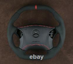 Mercedes custom steering wheel flat top & bottom Alcantara W203 C350 C55AMG