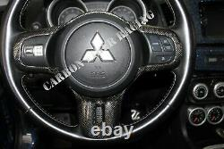 Mitsubishi Lancer Evolution X Steering Wheel Cover 100% Plain Weave Carbon Fiber