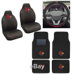 NCAA Louisville Cardinals Car Truck Seat Covers Floor Mats Steering Wheel Cover