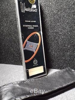NEW VINTAGE 1983 Wheelskins Black Leather Steering Wheel Cover by Cal Custom