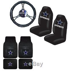 NFL Dallas Cowboys Car Truck Steering Wheel Cover Floor Mats & Seat Covers